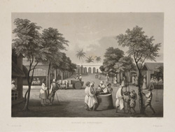 'Marche de Pondichery'. Aquatint by Himely after Paris. Undated